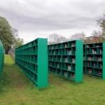 St. Peter's Abbey Vineyard. Bookyard installation by Italian artist Massimo Bartolini