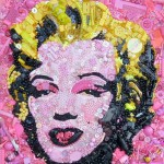 Iconic image of Marilyn. Button art by British artist Jane Perkins