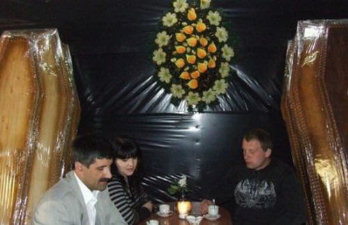 Extraordinary bar in Truskavets, Ukraine, housed inside the largest coffin in the world