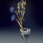 Cornflowers and stalks of oats. Gold, rock crystal, diamond, casting, carving, engraving, polishing, enamel. 1880