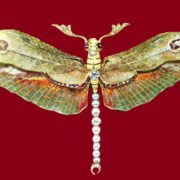 Dragonfly brooch of gold, pearls and diamonds