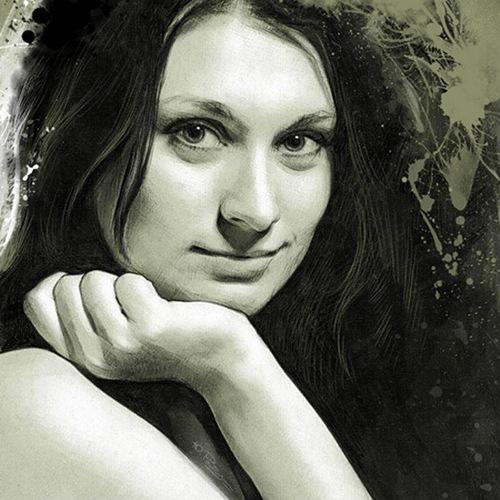 Beautiful Female Portrait. Digital Illustrations by Ukrainian artist Yuriy Ratush