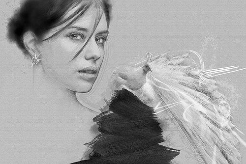 Peacock and a woman. Digital Illustrations by Ukrainian artist Yuriy Ratush
