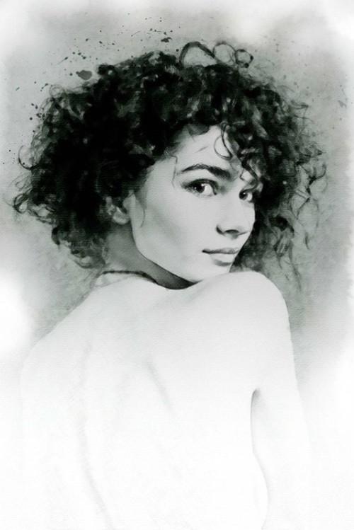 Brunette beauty Portrait. Digital Illustrations by Ukrainian artist Yuriy Ratush