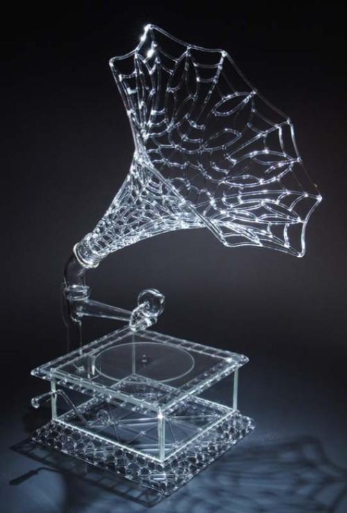 Stunning Glass Gramophone. Work by American artist Robert Mickelsen