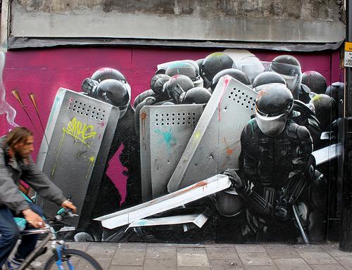 Protests. Graffiti by Australian street artist Smug