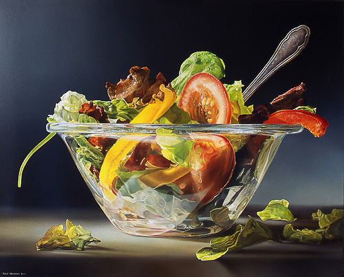 Salad in a glass bowl. Hyperrealistic painting by Dutch artist Tjalf Sparnaay