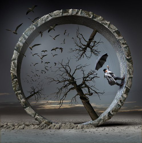 Tree wheel. Surrealistic painting by Polish artist Igor Morski
