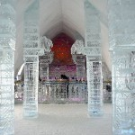 In Quebec City, the Ice Bar, carved out of an enormous ice block inside the Ice Hotel, also made of ice