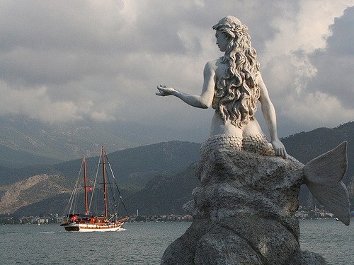 Statues of mermaids all over the world. Mermaid statue in Turkey