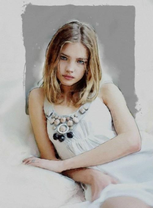 Natalia Vodianova - from photo by David Armstrong. Digital Illustrations by Ukrainian artist Yuriy Ratush