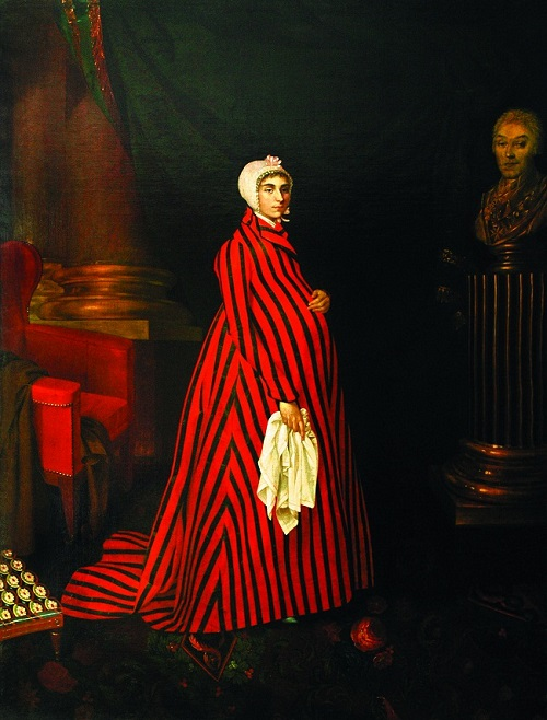 Painting by Nikolai Argunov. Portrait of Countess P.I. Sheremetyeva in striped robe. 1803. State Museum of Ceramics