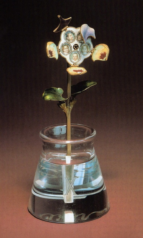 'Pansy' - made of gold, enamel and diamonds, placed in a vase of rock crystal, as if it's filled with water