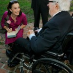 In a wheel chair, Ray Bradbury