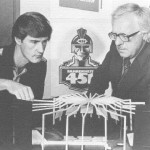 "Director Terence Schenk and playwright Ray Bradbury are working on a set of scenery for the play ""451 Fahrenheit"". Colony Theater Company"