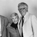 Authors Jean Auel and Ray Bradbury at a San Jose Mercury News author convention. November 22, 1980 San Jose, California, USA