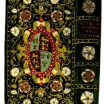 Restored 16th century binding of velvet embroidered with pearls for Elizabeth I, on a volume of church history.