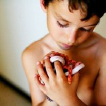 A boy holding small reptiles