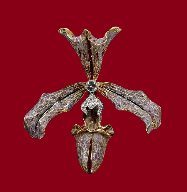 Stunning orchid brooch, gold, enamel, diamonds