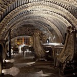 The H.R. Giger Alien Bar in Chur, Switzerland, is not for the fainthearted as the chairs, ceiling, and bar looks like an awesome anatomy project