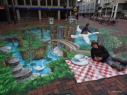 Three-dimensional street art by Dutch artist Leon Keer