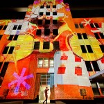 multimedia interactive work and building projections