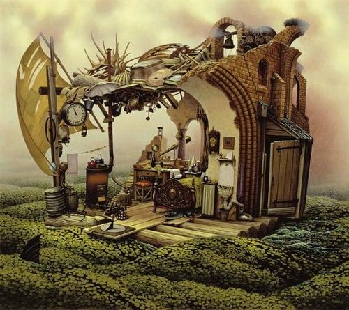 Surreal painting by Polish artist Jacek Yerka