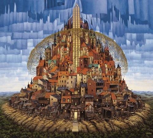 Tower city. Surreal painting by Polish artist Jacek Yerka