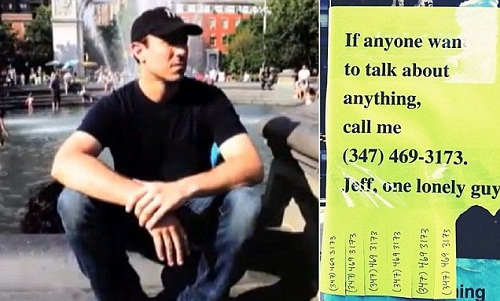 'If anyone wants to talk about anything, call me (347) 469-3173. Jeff, one lonely guy.'