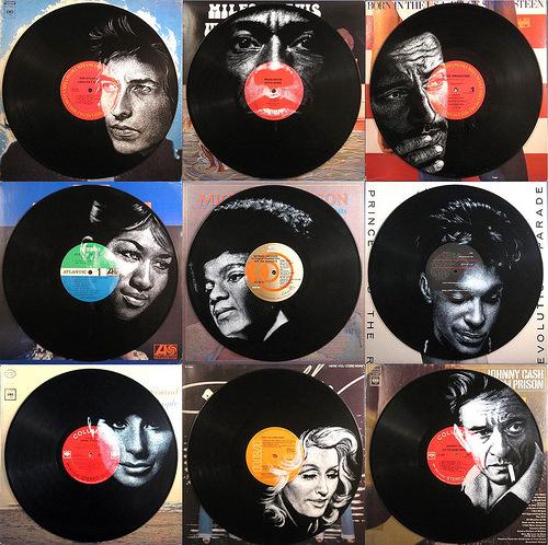 Photorealistic paintings on Vinyl records by Arizona artist Daniel Edlen