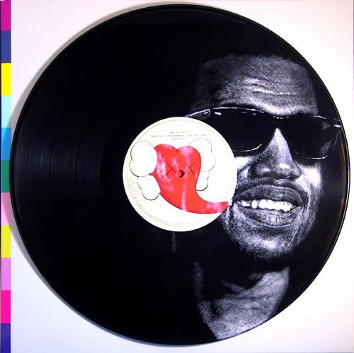 Drawings on vinyl records by Daniel Edlen