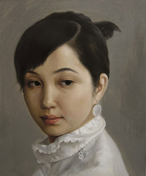 female portrait, painting by Chinese artist Liu Qiang