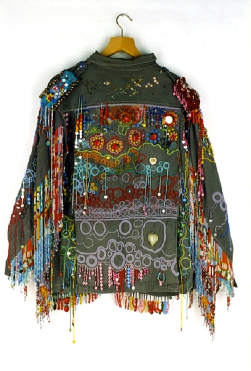 Military uniform turned into art work of Textile. Creation by Canadian artist Richard Preston