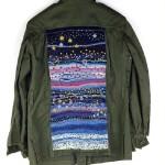Blue waves, textile art by Canadian artist Richard Preston