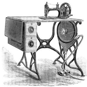 Water turbine driven sewing machine