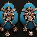 Gold earrings with diamonds and natural diamonds and blue enamel. Western Europe, the end of the XIX century