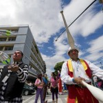 Clowns perform during a parade in the historic centre of Guatemala City in the framework of the IV Latin American Clown Congress on July 24, 2012.