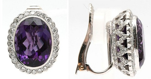 Earrings with amethyst and diamonds