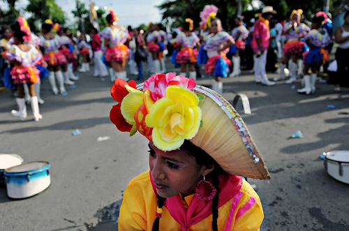 Students are waiting for the parade in honor of National Independence Day in Managua, Nicaragua