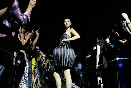 The former Miss Universe from Japan Hiroko Mima participates in the Tokyo Fashion Fuse, Tokyo, Japan. This event is a fusion of music and fashion with top models and international DJs