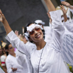 Liz Karmooch rehearses the dance before the parade in honor of the West Indies in New York, USA