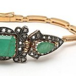 Bracelet and ring 'Emerald Island' in the style of Art Deco
