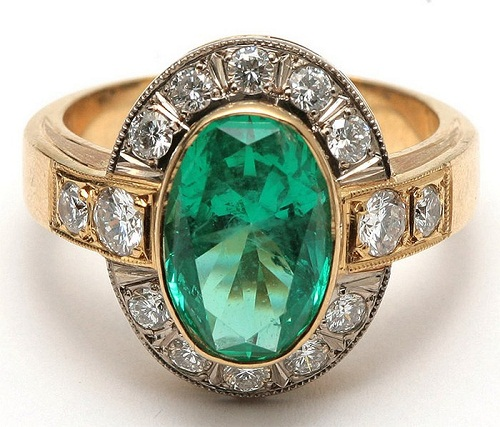 """Gold ring with emerald and diamonds. Zykina knew that """"diamonds are forever"""" long before she heard the song from the Bond movie of the same name"""