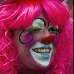 A clown laughs during a pilgrimage to the Virgin of Guadalupe's basilica, Mexico's patron saint, in Mexico City on July 18, 2012. Hundreds of clowns take part in the annual pilgrimage to the sanctuary of the Virgin