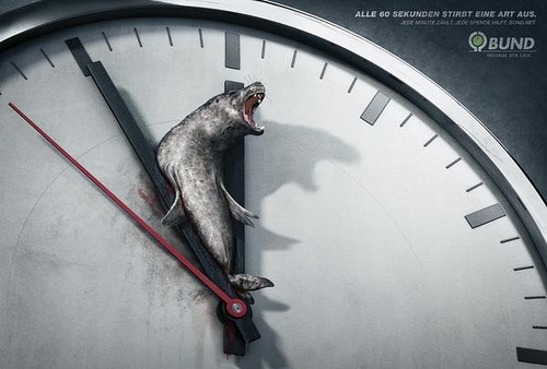 Seal on the clock. 5 To 12 - Peppermill designs for B.U.N.D. eV environmental organization, Germany