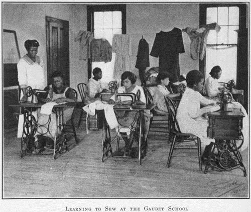Learning to sew at the Gaudet School; New Orleans, Louisiana.1923