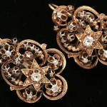 Gold earrings with diamonds and diamond antique cut. 1871