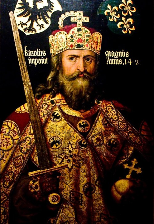A copy of the portrait of Charlemagne in the imperial crown (Albrecht Durer, the original is located in the German National Museum in Nuremberg)