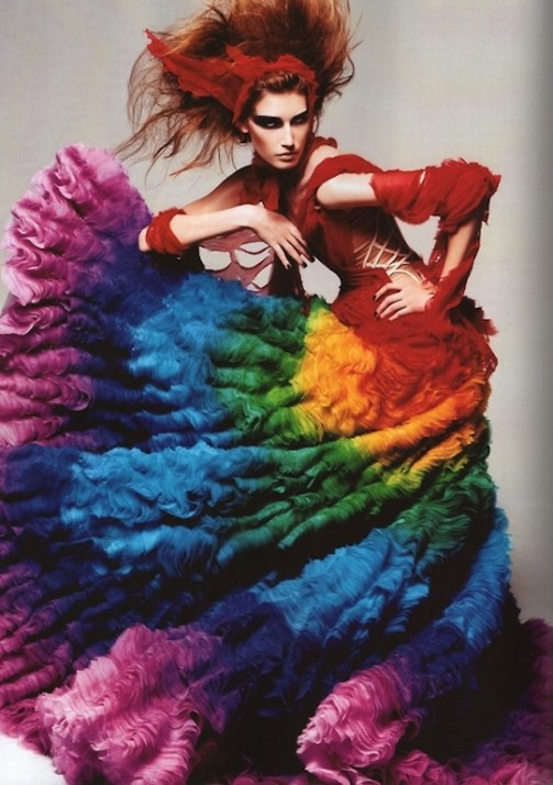 Alexander McQueen Spring 2003 & Spring 2008 Rainbow Dress