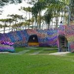 """Teeth"" of a beautiful Alligator Playground Crocheted by Polish artist Olek (Agata Oleksiak)"